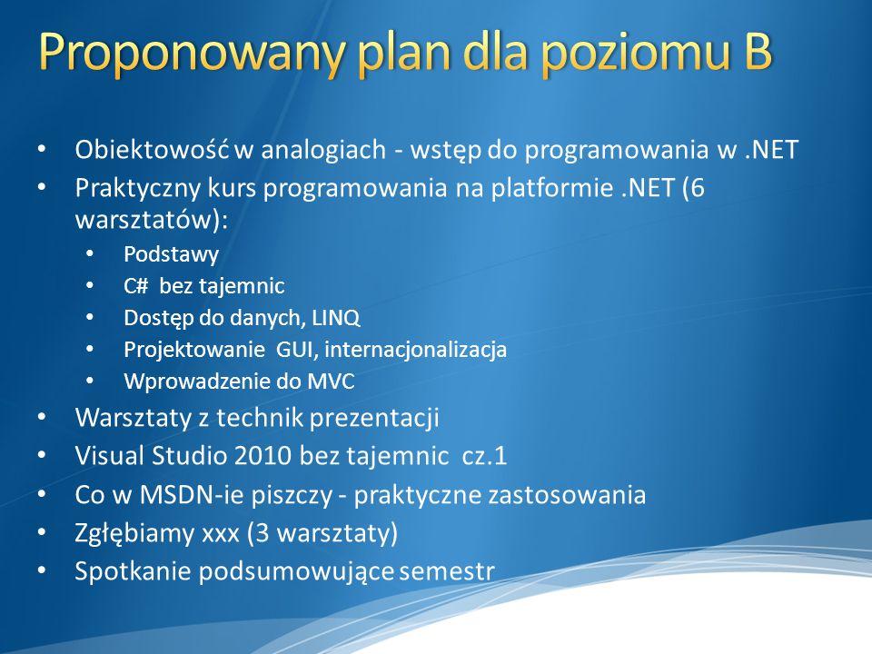 Proponowany plan dla poziomu B