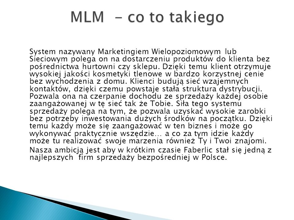 MLM - co to takiego