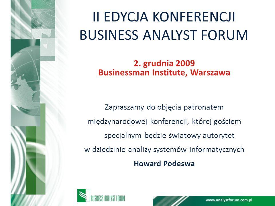 II EDYCJA KONFERENCJI BUSINESS ANALYST FORUM