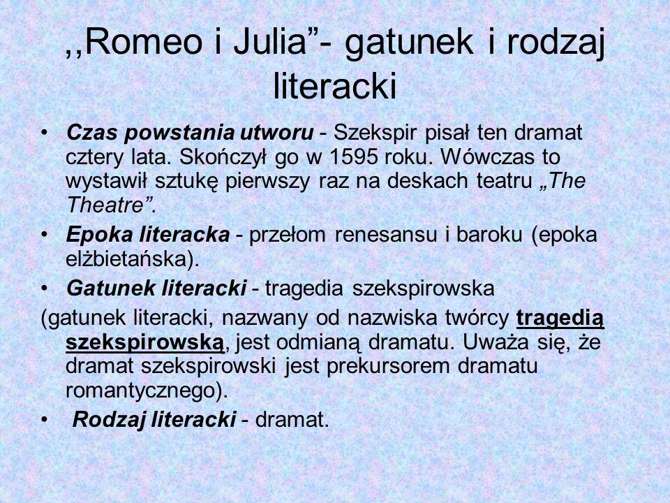 ,,Romeo i Julia - gatunek i rodzaj literacki