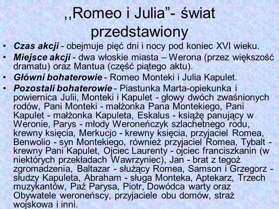 ,,Romeo i Julia - świat przedstawiony