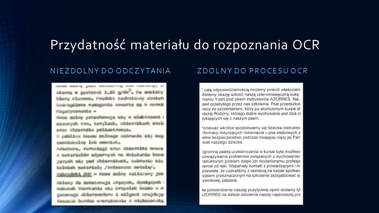 Przydatność materiału do rozpoznania OCR