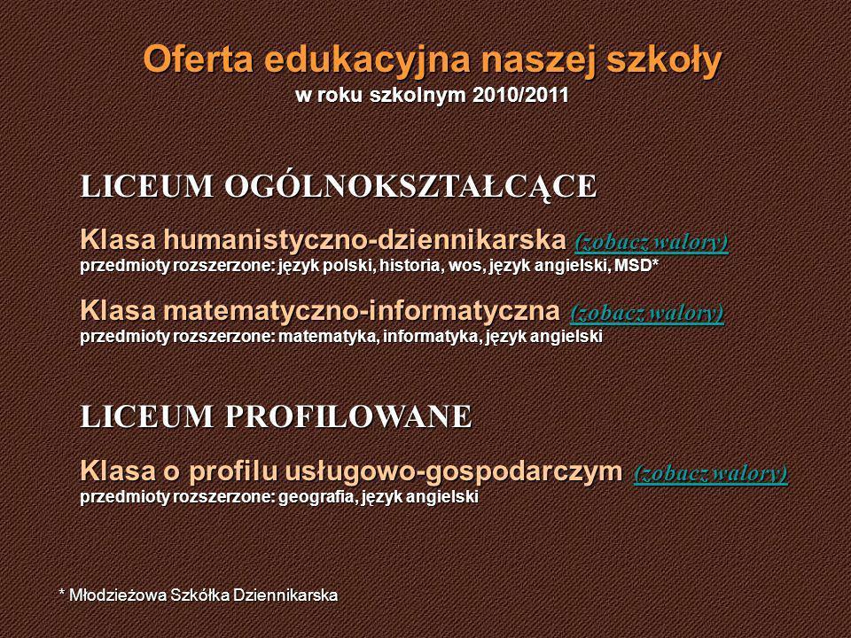Oferta edukacyjna naszej szkoły w roku szkolnym 2010/2011