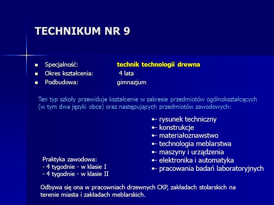 TECHNIKUM NR 9 - rysunek techniczny - konstrukcje - materiałoznawstwo