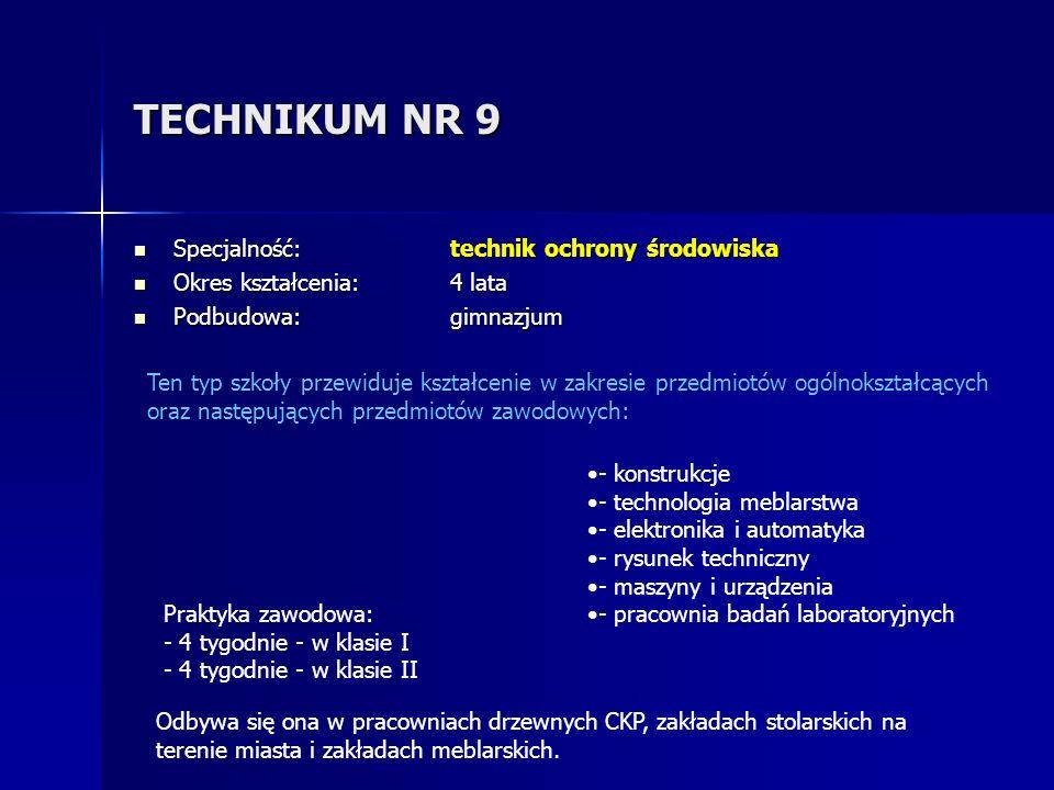 TECHNIKUM NR 9 Specjalność: technik ochrony środowiska