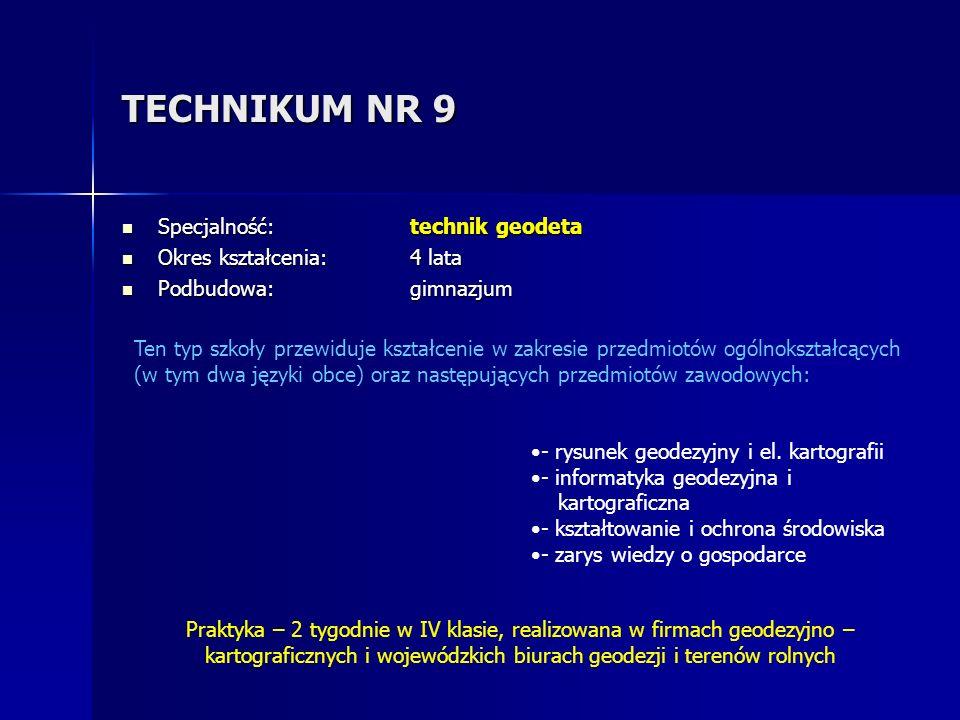 TECHNIKUM NR 9 Specjalność: technik geodeta Okres kształcenia: 4 lata