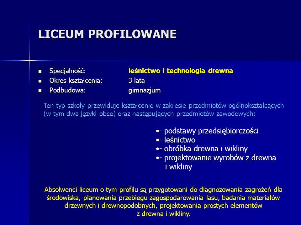 LICEUM PROFILOWANE - podstawy przedsiębiorczości - leśnictwo