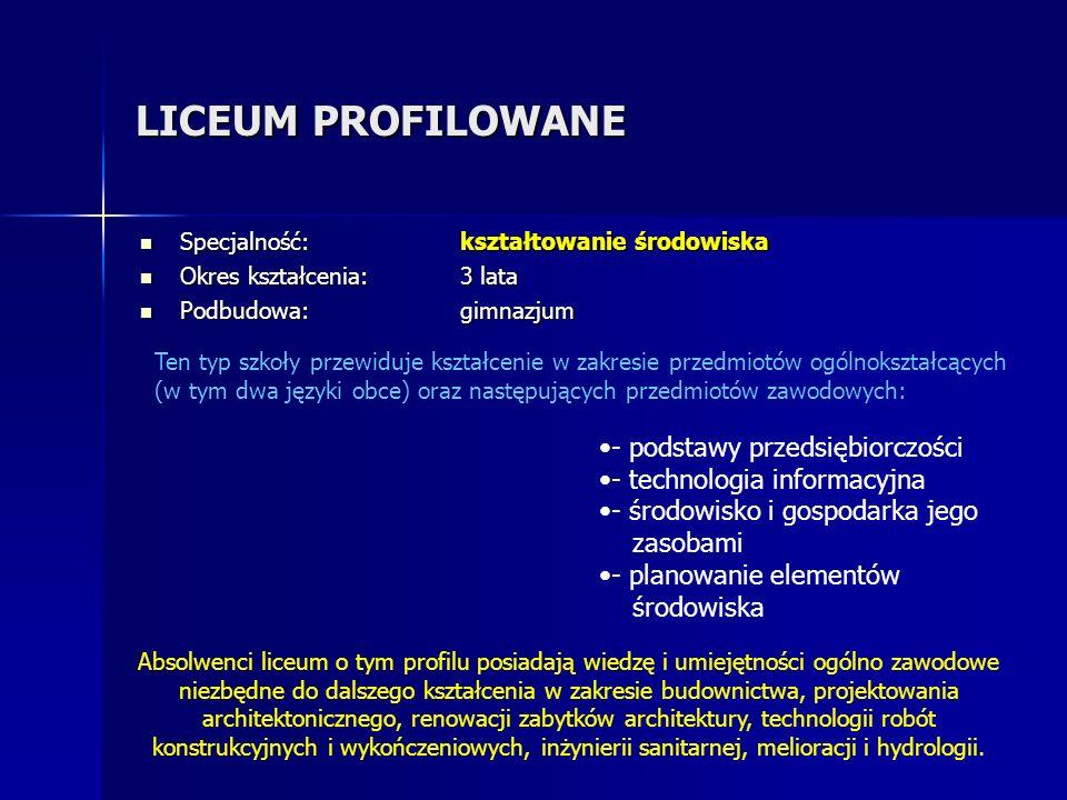LICEUM PROFILOWANE - podstawy przedsiębiorczości