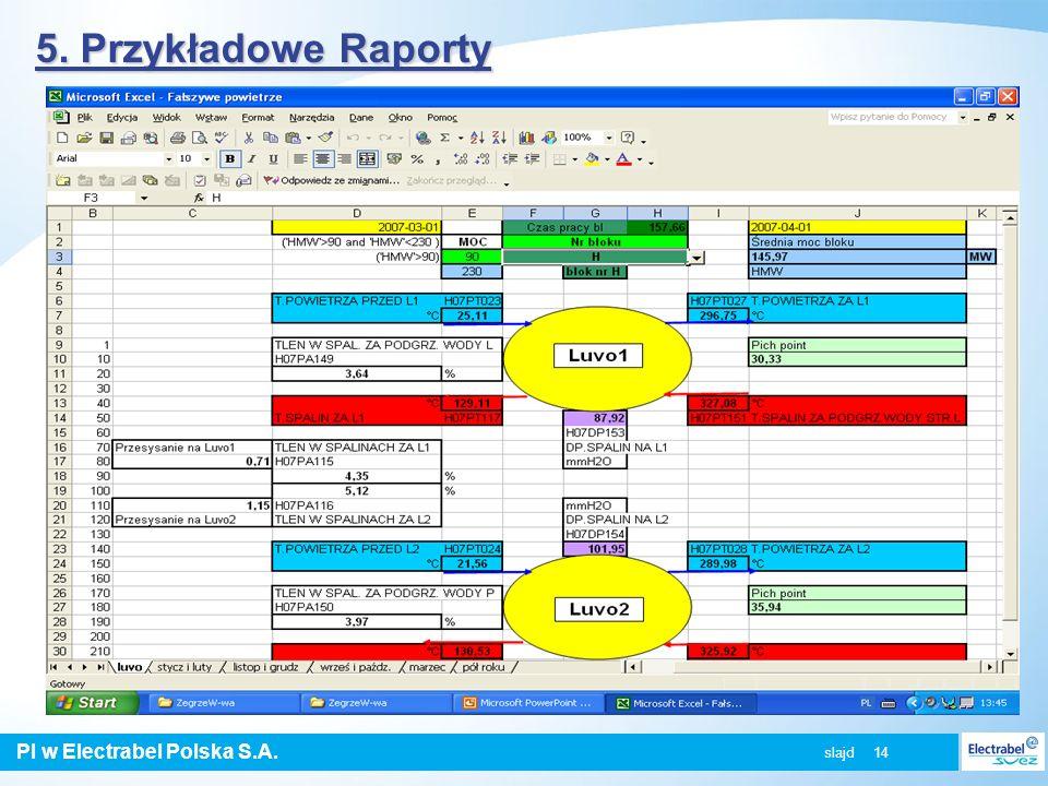 5. Przykładowe Raporty slajd