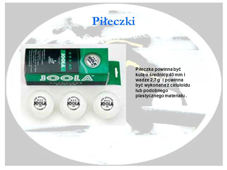 Piłeczki Piłeczka powinna być kulą o średnicy 40 mm i wadze 2,7 g i powinna być wykonana z celuloidu lub podobnego plastycznego materiału .