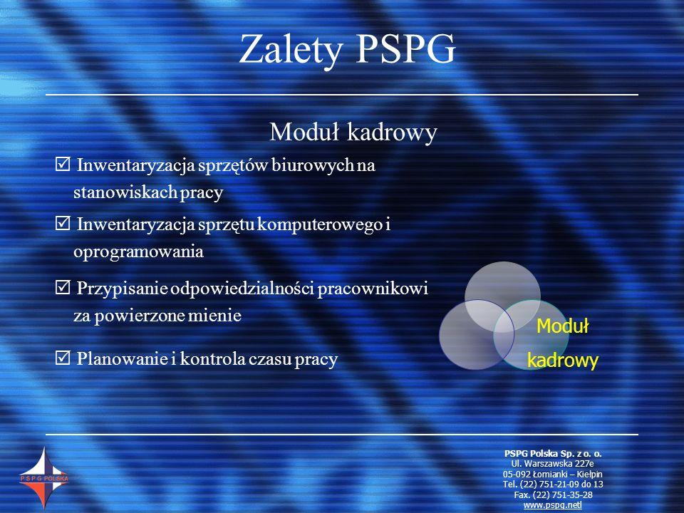 Zalety PSPG Moduł kadrowy Inwentaryzacja sprzętów biurowych na