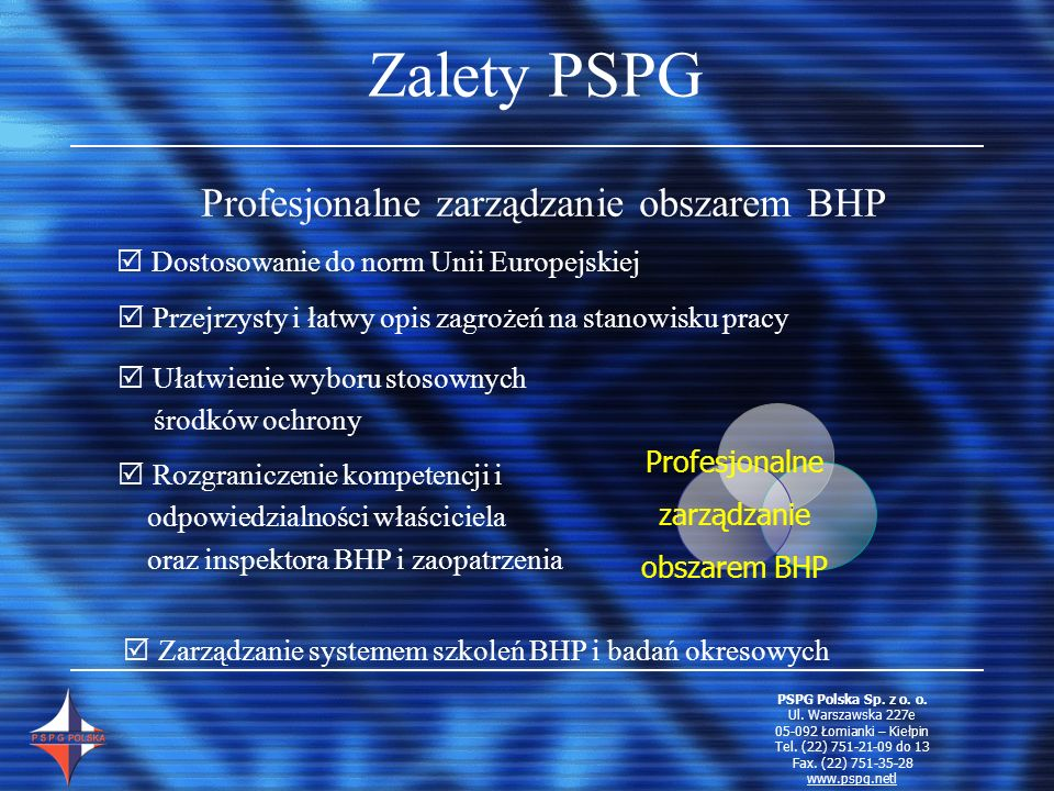 Profesjonalne zarządzanie obszarem BHP