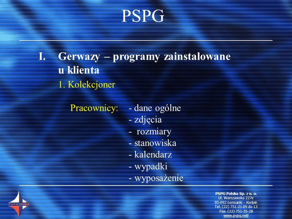 PSPG Gerwazy – programy zainstalowane u klienta 1. Kolekcjoner