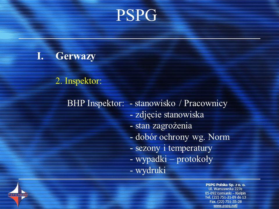 PSPG Gerwazy 2. Inspektor: BHP Inspektor: - stanowisko / Pracownicy