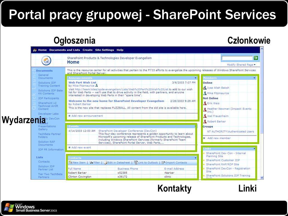 Portal pracy grupowej - SharePoint Services
