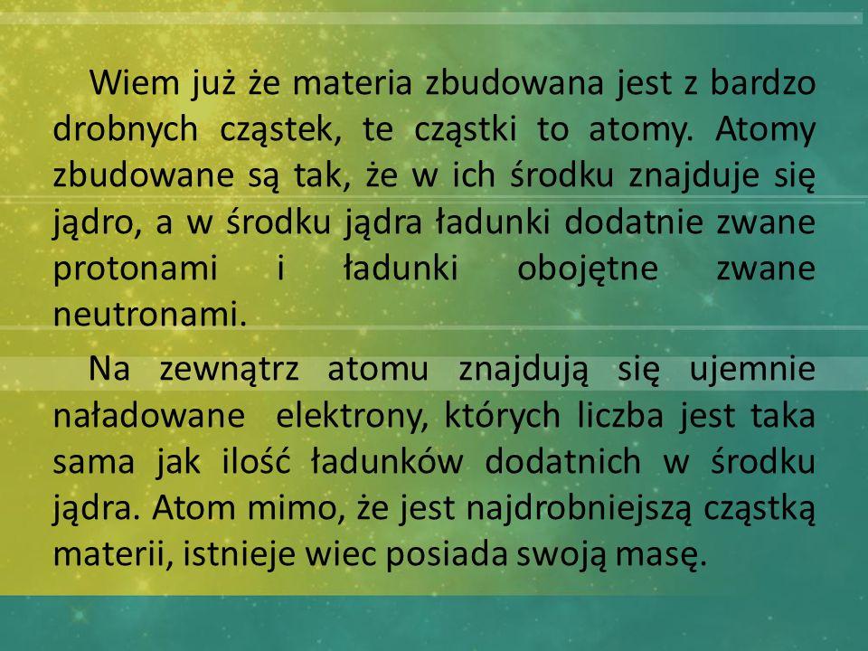 Wiem już że materia zbudowana jest z bardzo drobnych cząstek, te cząstki to atomy. Atomy zbudowane są tak, że w ich środku znajduje się jądro, a w środku jądra ładunki dodatnie zwane protonami i ładunki obojętne zwane neutronami.