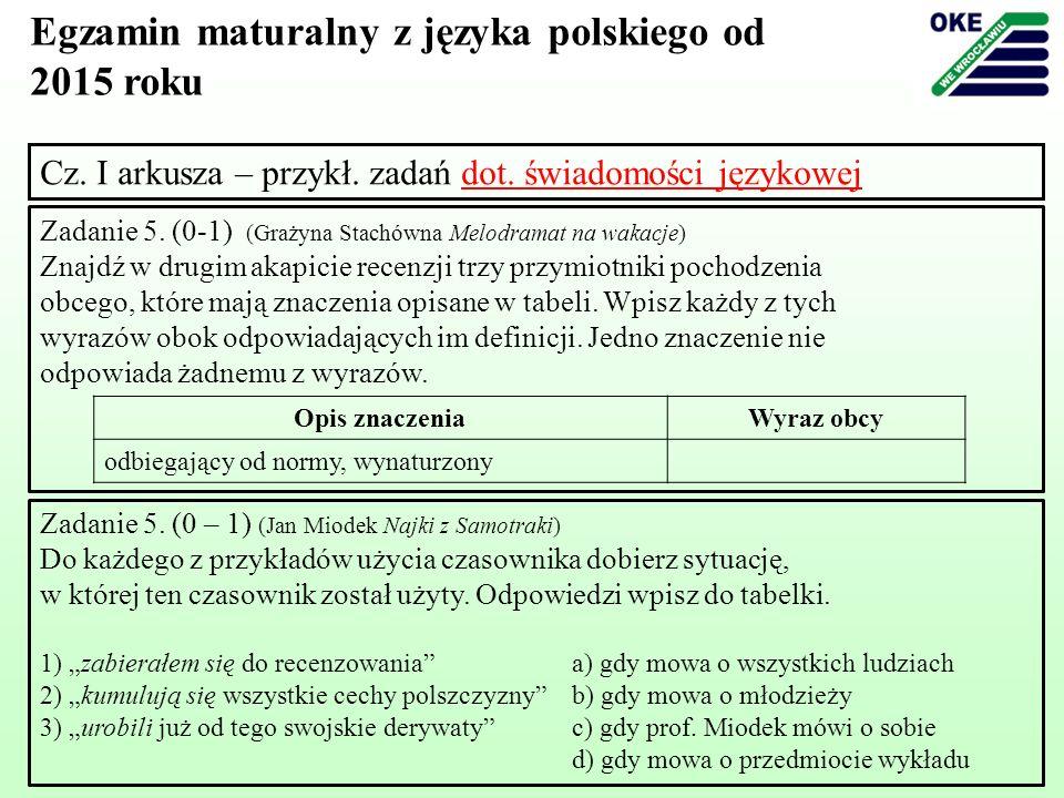 Egzamin maturalny z języka polskiego od 2015 roku