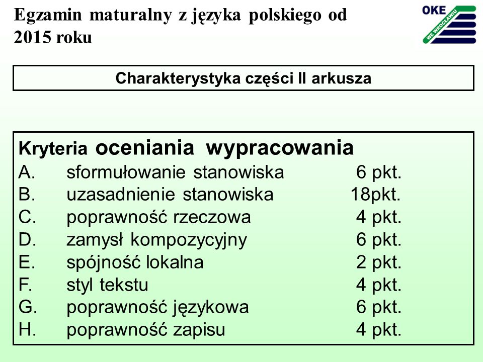 Charakterystyka części II arkusza