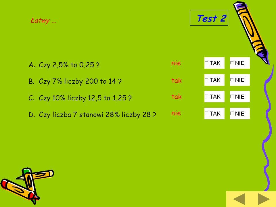 Test 2 Łatwy … nie Czy 2,5% to 0,25 Czy 7% liczby 200 to 14 tak