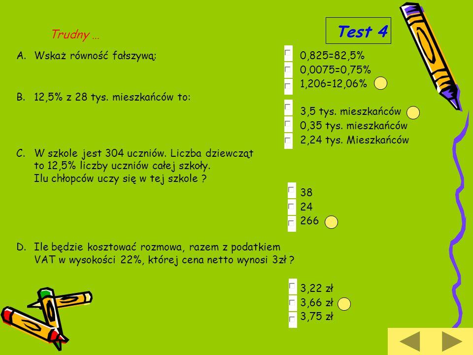 Test 4 Trudny … Wskaż równość fałszywą: 0,825=82,5% 0,0075=0,75% 1,206=12,06% 12,5% z 28 tys. mieszkańców to: