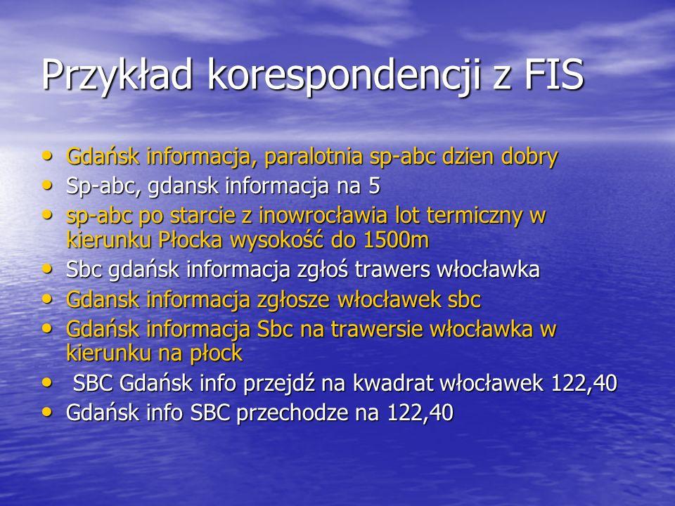 Przykład korespondencji z FIS