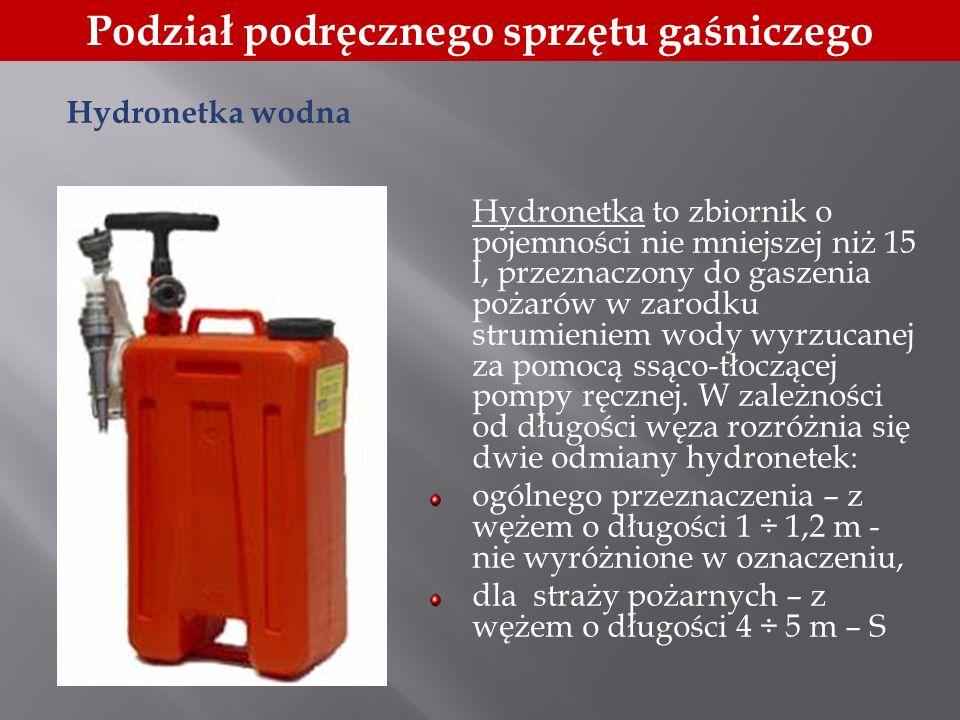 Podział podręcznego sprzętu gaśniczego