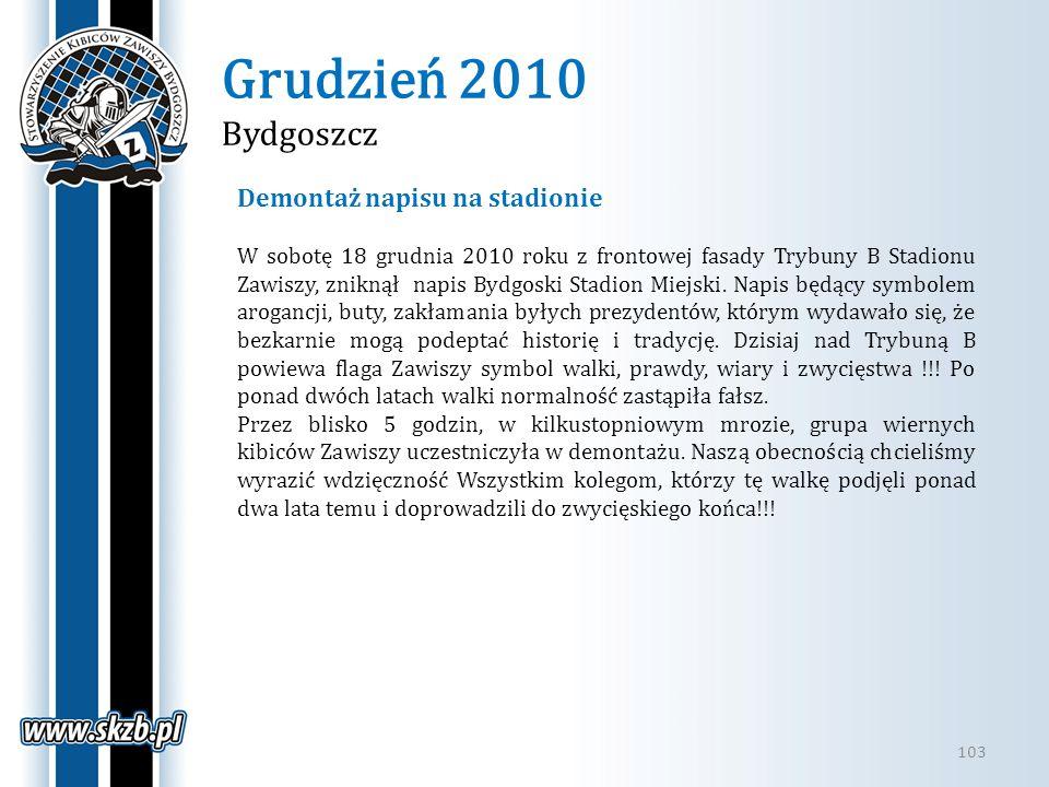Grudzień 2010 Bydgoszcz Demontaż napisu na stadionie