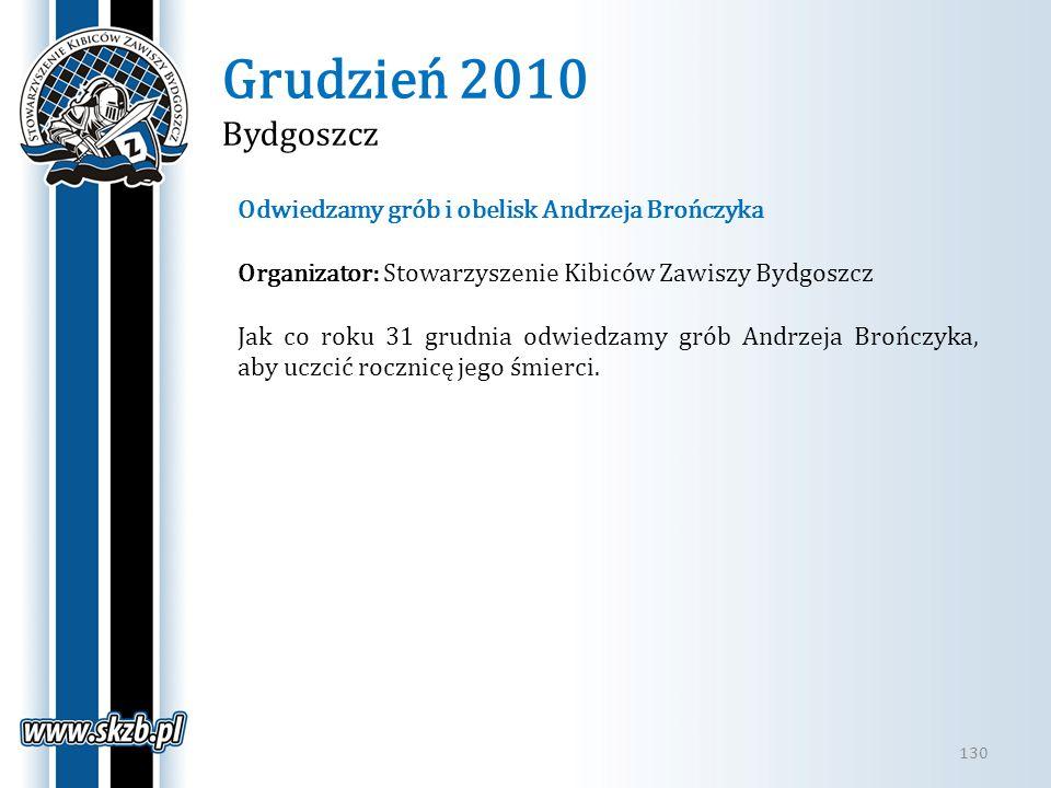 Grudzień 2010 Bydgoszcz Odwiedzamy grób i obelisk Andrzeja Brończyka