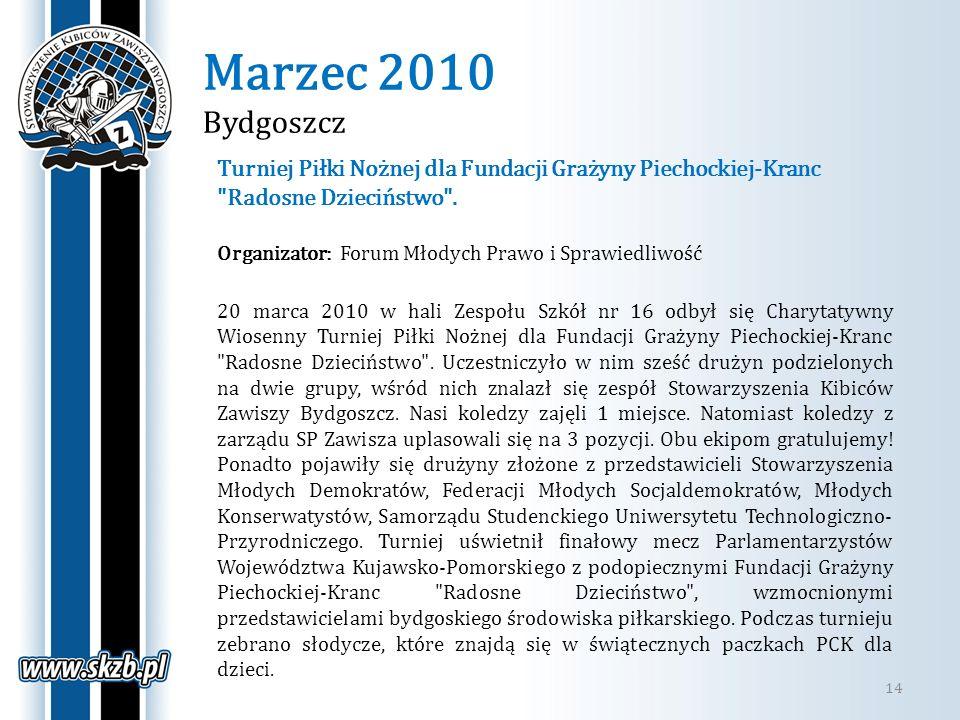 Marzec 2010 Bydgoszcz Turniej Piłki Nożnej dla Fundacji Grażyny Piechockiej-Kranc Radosne Dzieciństwo .