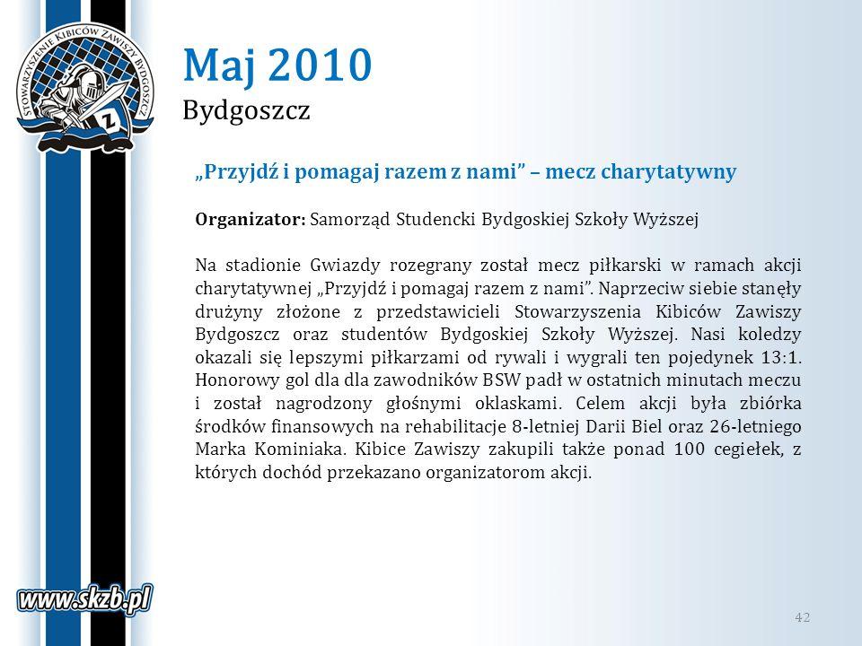 """Maj 2010 Bydgoszcz """"Przyjdź i pomagaj razem z nami – mecz charytatywny. Organizator: Samorząd Studencki Bydgoskiej Szkoły Wyższej."""