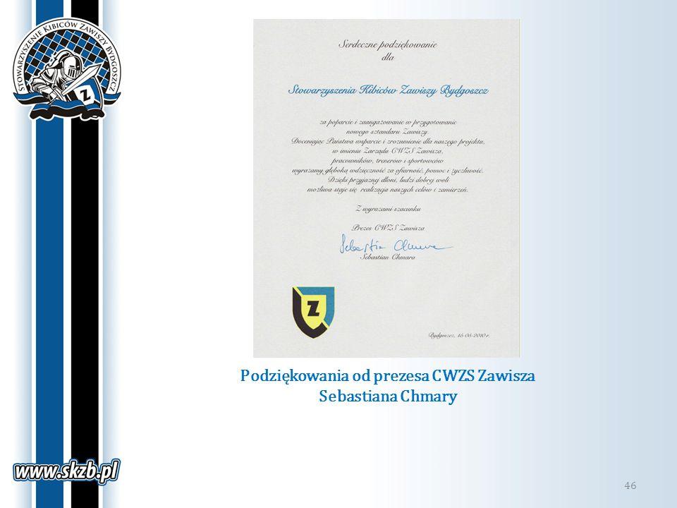 Podziękowania od prezesa CWZS Zawisza Sebastiana Chmary