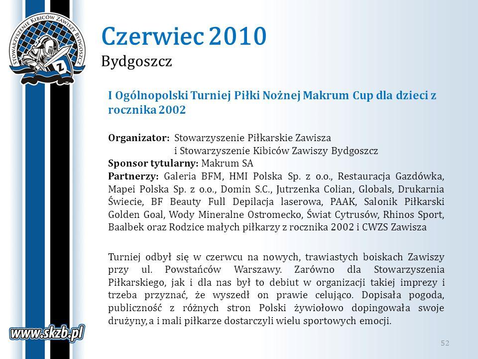 Czerwiec 2010 Bydgoszcz I Ogólnopolski Turniej Piłki Nożnej Makrum Cup dla dzieci z rocznika 2002.
