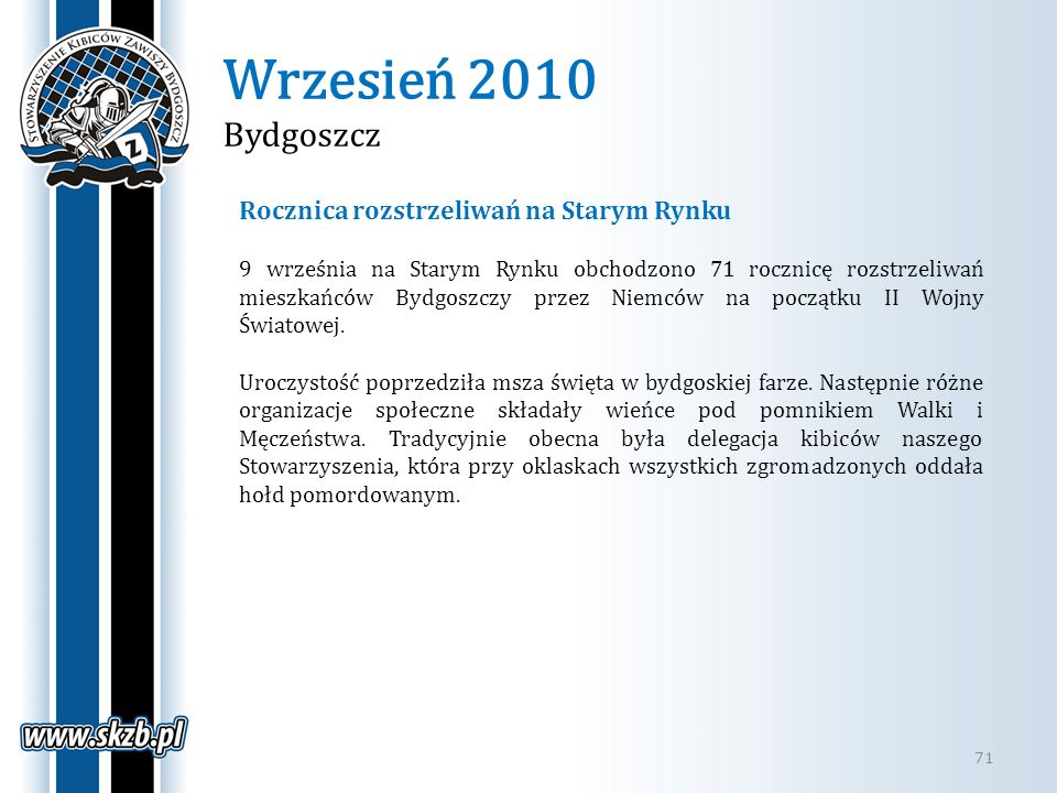 Wrzesień 2010 Bydgoszcz Rocznica rozstrzeliwań na Starym Rynku