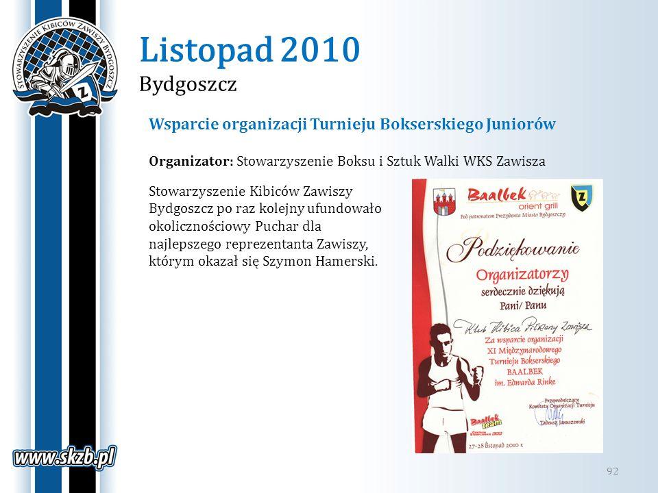 Listopad 2010 Bydgoszcz Wsparcie organizacji Turnieju Bokserskiego Juniorów. Organizator: Stowarzyszenie Boksu i Sztuk Walki WKS Zawisza.