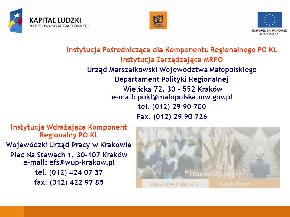 Instytucja Pośrednicząca dla Komponentu Regionalnego PO KL