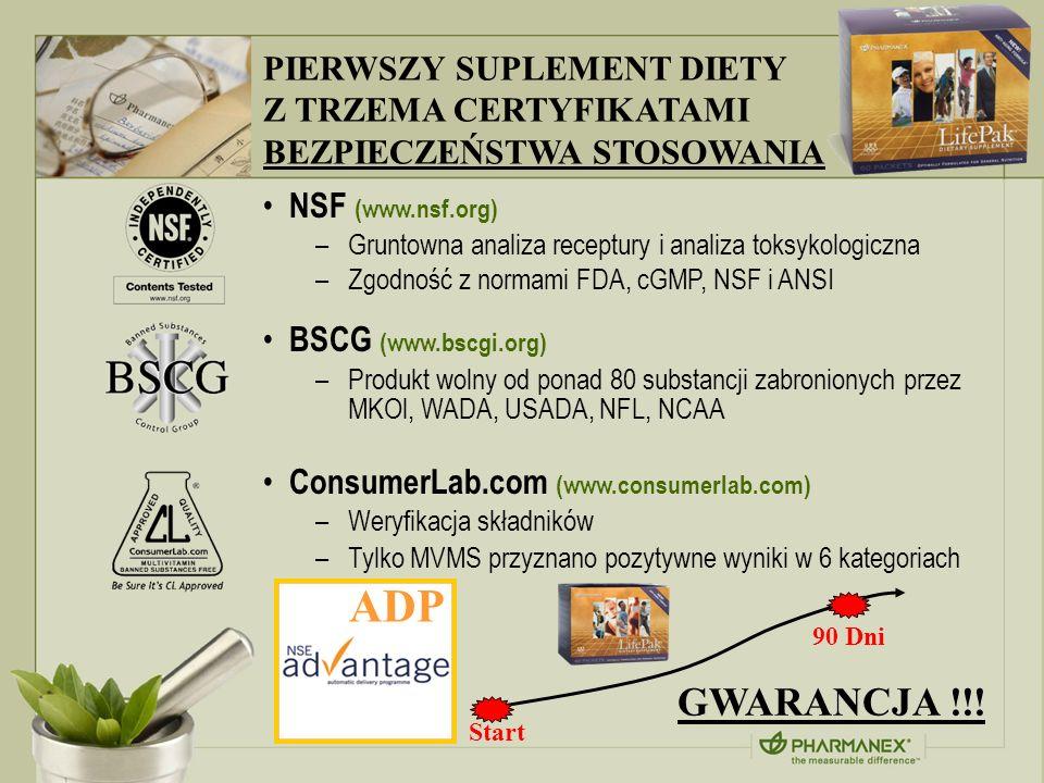 ADP GWARANCJA !!! PIERWSZY SUPLEMENT DIETY Z TRZEMA CERTYFIKATAMI