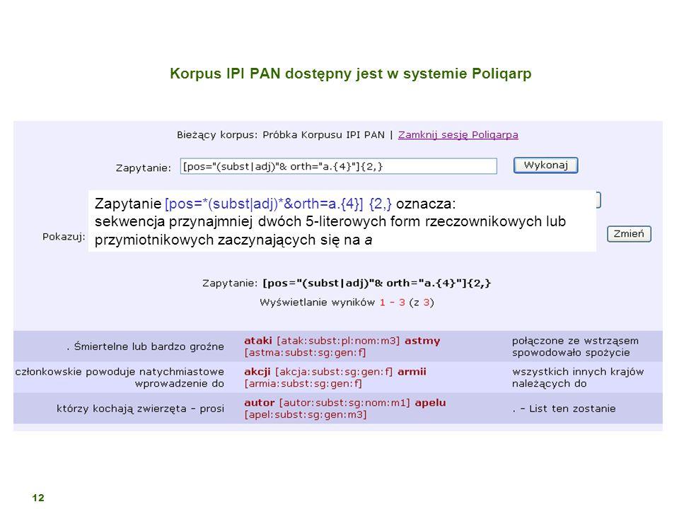 Korpus IPI PAN dostępny jest w systemie Poliqarp