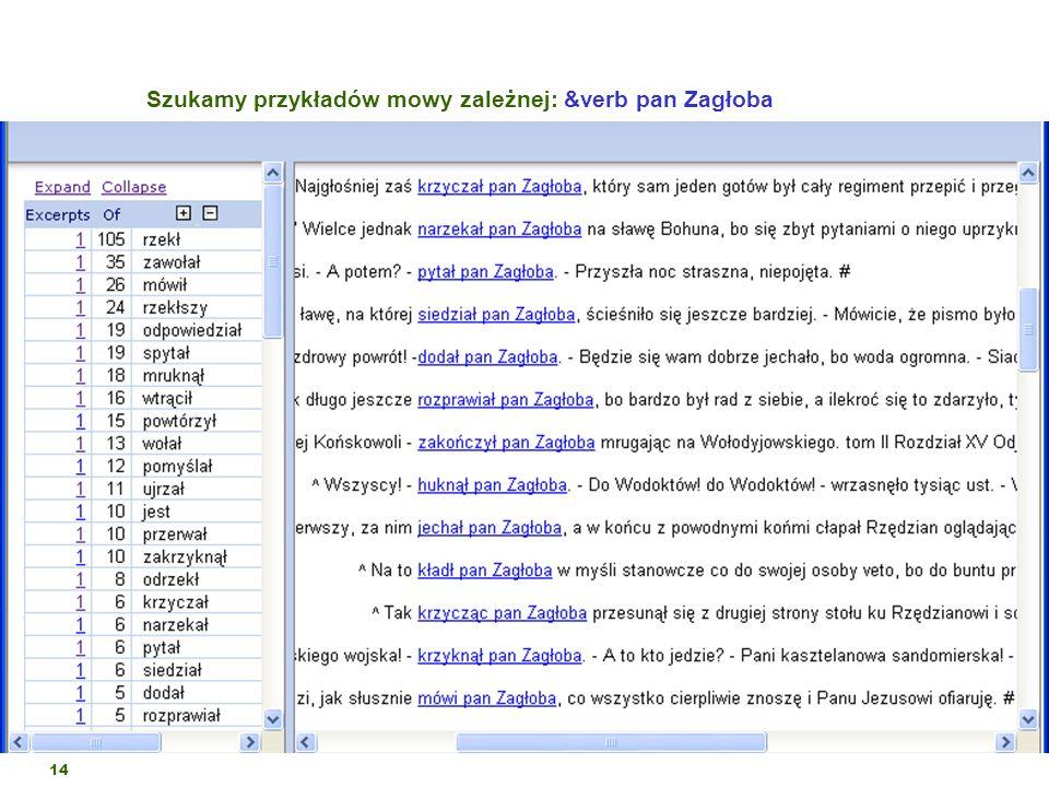 Szukamy przykładów mowy zależnej: &verb pan Zagłoba