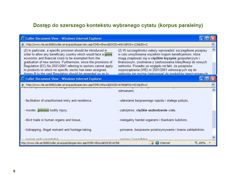 Dostęp do szerszego kontekstu wybranego cytatu (korpus paralelny)