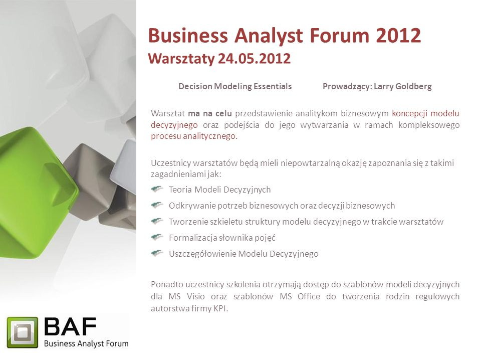 Business Analyst Forum 2012 Warsztaty 24.05.2012