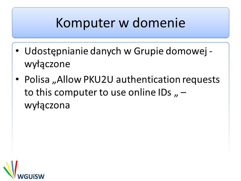 Komputer w domenie Udostępnianie danych w Grupie domowej - wyłączone