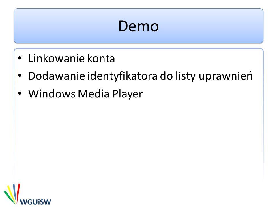 Demo Linkowanie konta Dodawanie identyfikatora do listy uprawnień