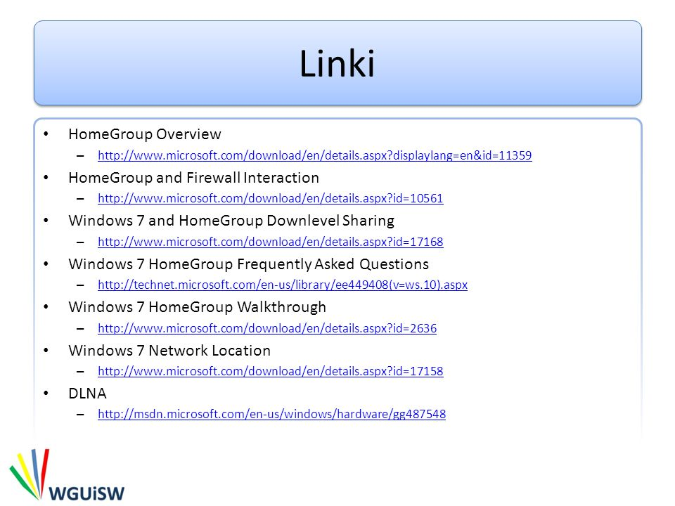 Linki HomeGroup Overview HomeGroup and Firewall Interaction