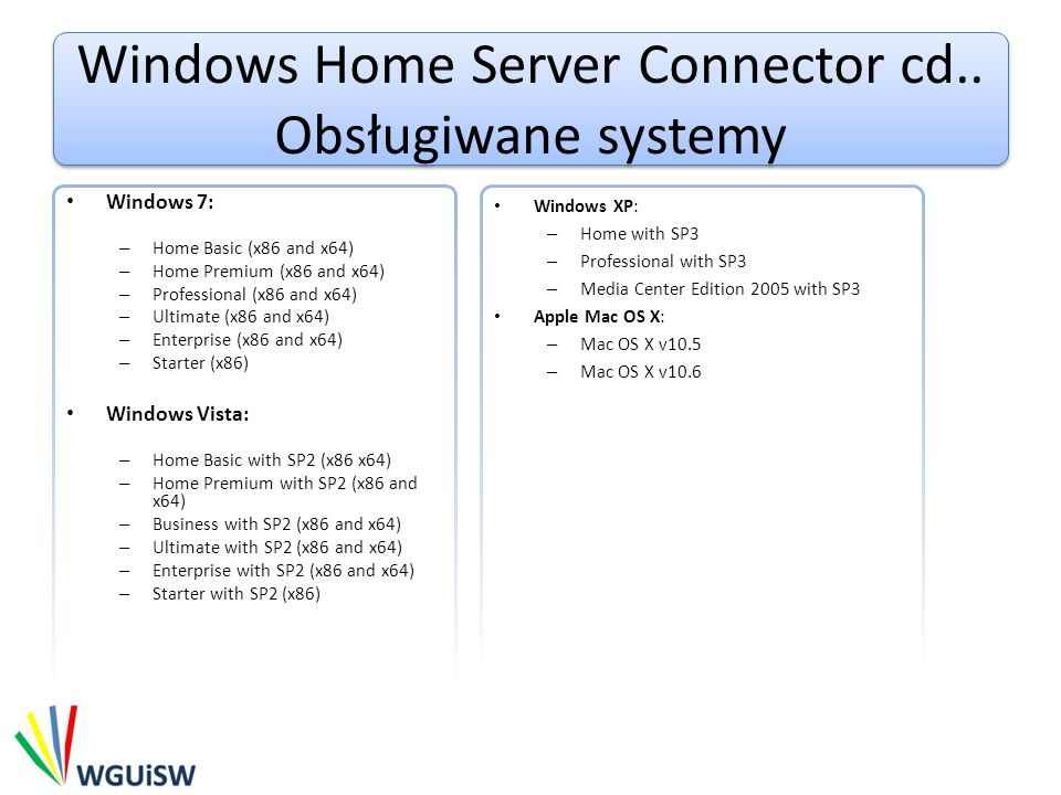 Windows Home Server Connector cd.. Obsługiwane systemy