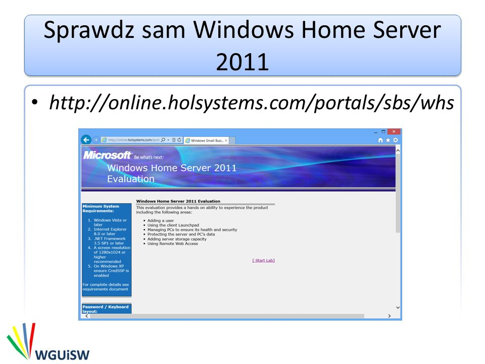 Sprawdz sam Windows Home Server 2011