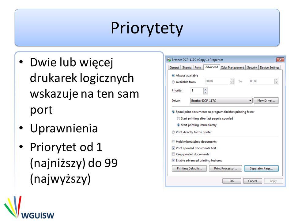 Priorytety Dwie lub więcej drukarek logicznych wskazuje na ten sam port.