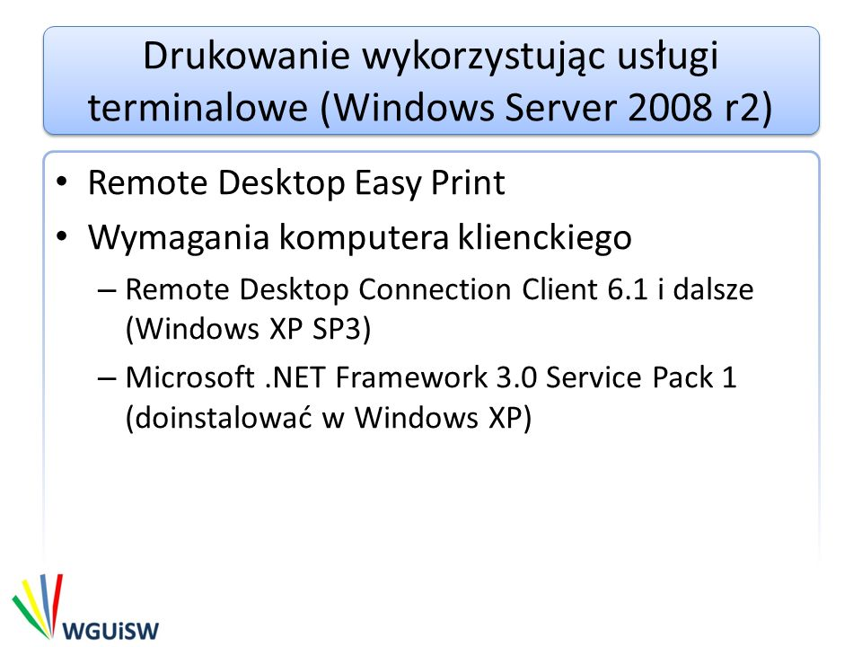 Drukowanie wykorzystując usługi terminalowe (Windows Server 2008 r2)
