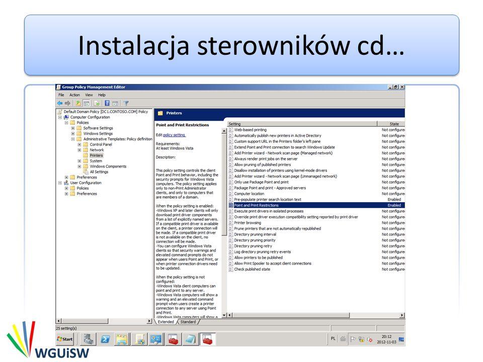 Instalacja sterowników cd…