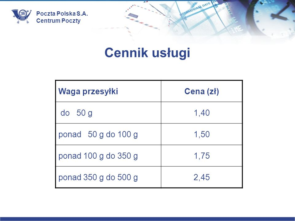 Cennik usługi Waga przesyłki Cena (zł) do 50 g 1,40