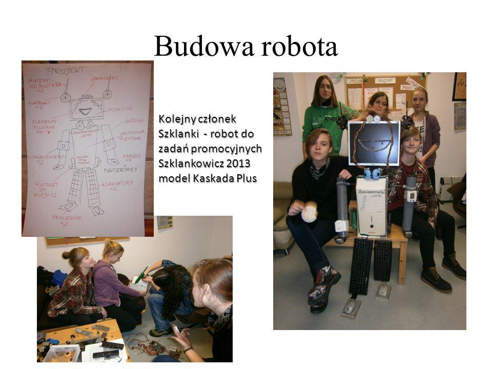 Budowa robota Kolejny członek Szklanki - robot do zadań promocyjnych Szklankowicz 2013 model Kaskada Plus.
